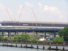 The exterior of Yankee Stadium on June 16, 2007. Notice the cranes behind the Stadium.
